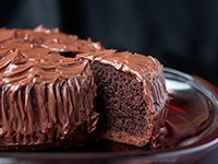 Chocolate cake with slice coming out
