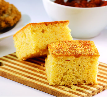 BNJPF Quarter Sheet Cornbread (in bakeable box) - Cut Open Image