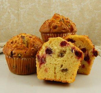 BNJUM 6.25 oz. Cranberry Orange Nut Muffins - Cut Open Image