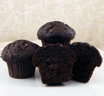 BNJUM 4.5 oz. Double Chocolate Muffins - Cut Open Image