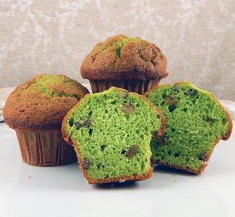 BNJUM 4.5 oz. Pistachio Flavored Nut Muffins - Cut Open Image
