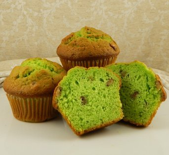 BNJUM 6.25 oz. Pistachio Flavored Nut Muffins - Cut Open Image