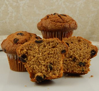 BNJUM 4.5 oz. Raisin Bran Muffins - Cut Open Image