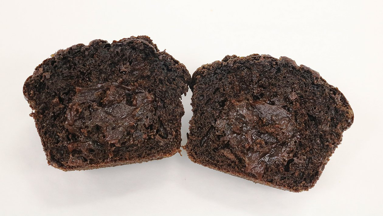 BNJO 6.25 oz. Chocolate Filled Double Chocolate Muffins - Cut Open Image